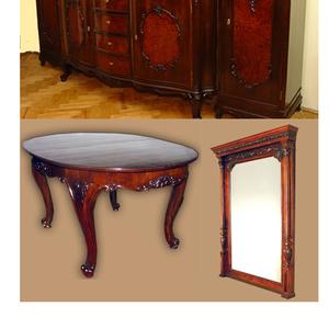 Комплект антикварной столовой буфет,  стол,  зеркало